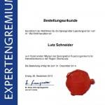 Bestellungsurkunde Sprengnetter Expertengremium Lutz Schneider